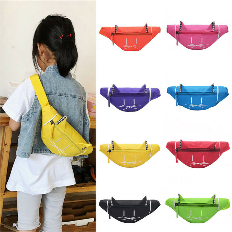 HOT Itabag Kids Gilrs Cute Solid Color Fashion Waist Fanny Pack Bum Bag Canvas Travel Festival Sports Purse Satchel