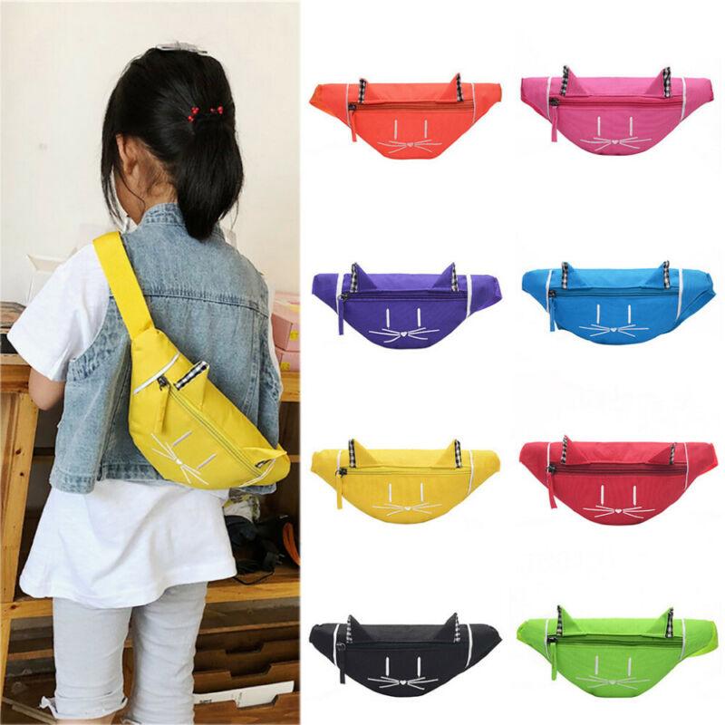 HOT Itabag Kids Gilrs Cute Solid Color Fashion Waist Fanny Pack Bum Bag Canvas Travel Festival Sports Purse Satchel