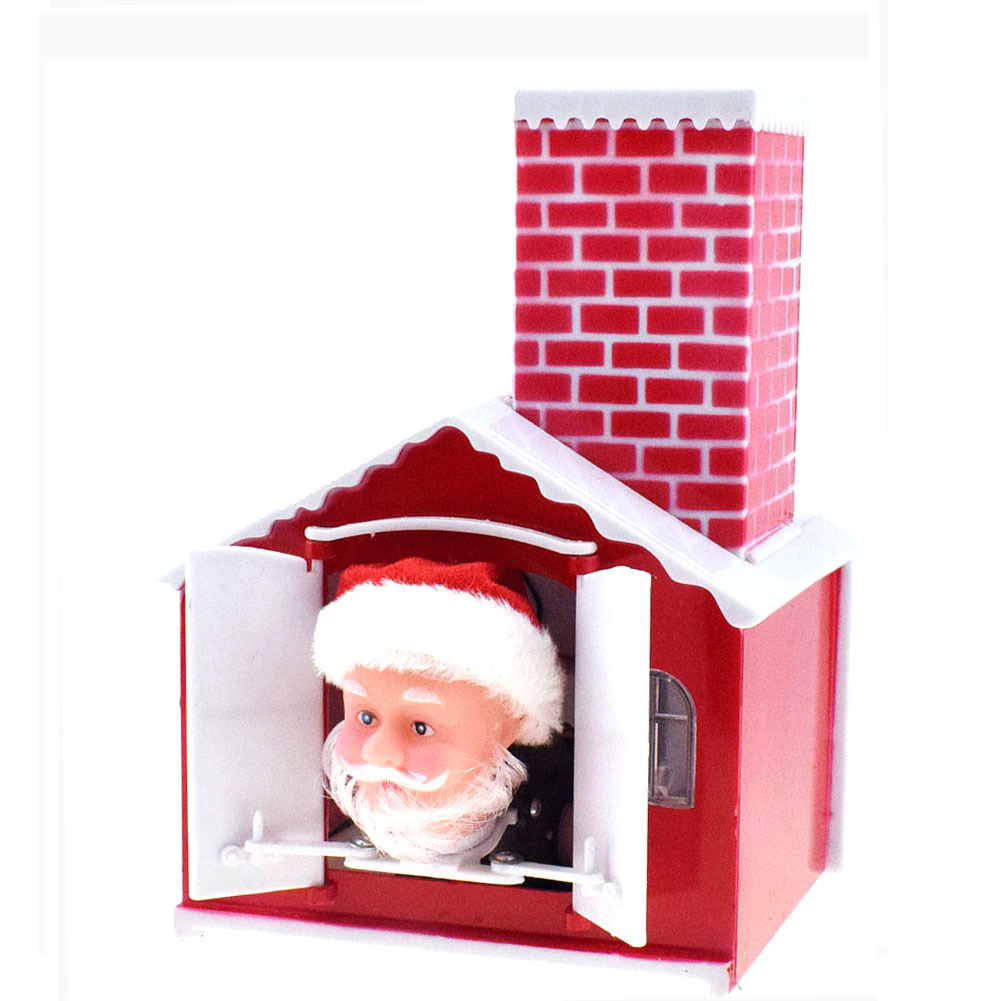 Novelty Funny Drilling Chimney Drilling House Christmas Old Man Doll Toy Electric Music Santa Claus Doll Gift
