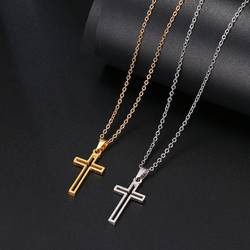 Simple Cross Stainless Steel Necklace For Women Men Gold Silver Color Short Chain Necklace Cross Religious Jewelry Lover's Gift