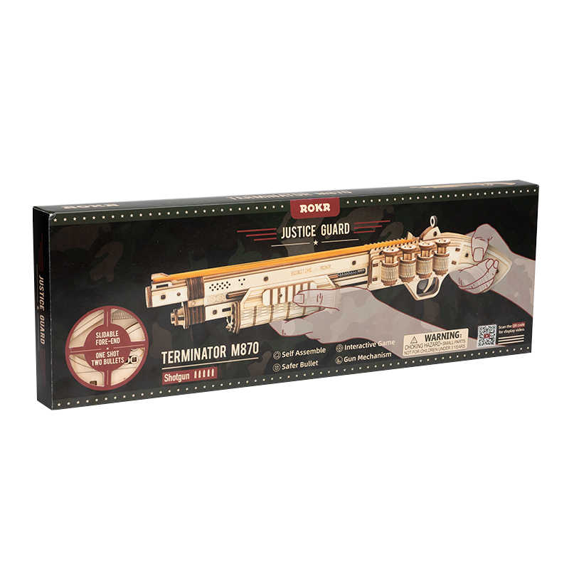 Robotime DIY bala banda de goma pistola guardia de la justicia 3d rompecabezas de madera juguete al aire libre juego tirador regalos para niños LQ501