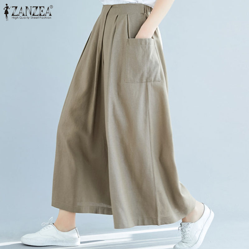 ZANZEA Women's Pants 2020 Fashion Office Lady Elastic Waist Wide Leg Long Trousers Casual Loose Pockets Pantalones Streetwear 7
