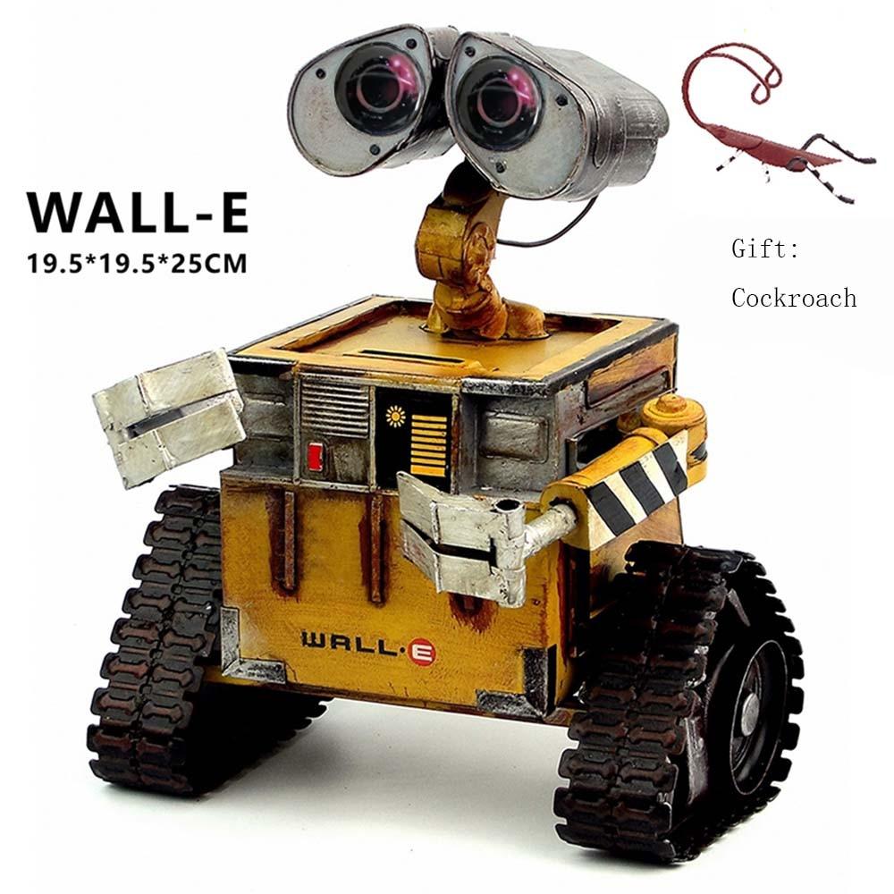 Ev ve Bahçe'ten Heykelcikler ve Minyatürler'de Duvar e Robot film modeli soğuk haddelenmiş çelik Metal Action Figure oyuncak bebek robote el yapımı el sanatları juguetes figuras hamamböceği wall e title=