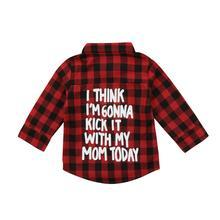 Дети из Красного Пледа для младенцев Футболка для мальчиков и девочек, рубашка с длинными рукавами блузки пальто милая детская одежда