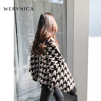 Werynica Korean Fashion Ladies Women Knitting Sweater Houndstooth O-Neck Batwing Sleeve Pullover Loose cashmere Sweater Hot Sale korean fashion ladies full sleeve women knitting sweater solid o neck pullover and jumper loose sweater hot sale s80209q