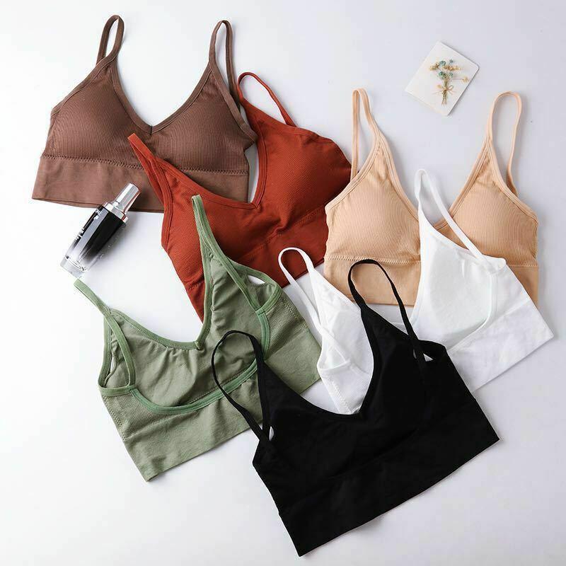 Hot Sale Womens Bra Top Plain Strappy Back Tie Up Halter Neck Basic Bralet Vest Casual Stretch Elastic Soft Summer Clothes