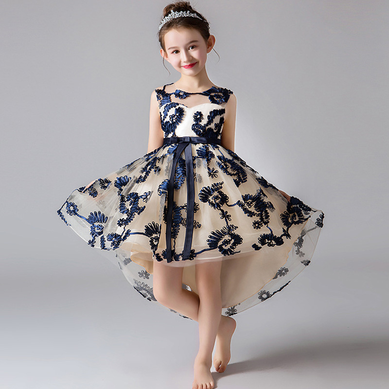 Flower Girl Birthday Party High End Embroidery Tuxedo Girl Ceremony Formal Communion Ball First Party Beaded Tuxedo Vestidos