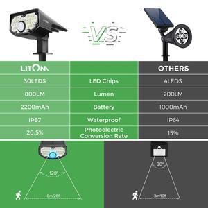 2 Упак. LITOM 30 светодиодный солнечный Ландшафтный Точечный светильник s PIR датчик движения настенный светильник с 3 дополнительными режимами 2-...