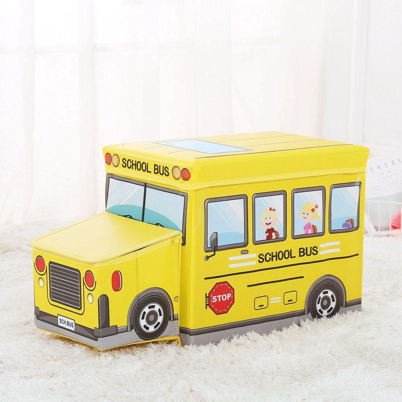 Kids Storage Stool Box Storage Multi-functional Toy Folding Boxes Creative Baby Cartoon Automobile Storage Box