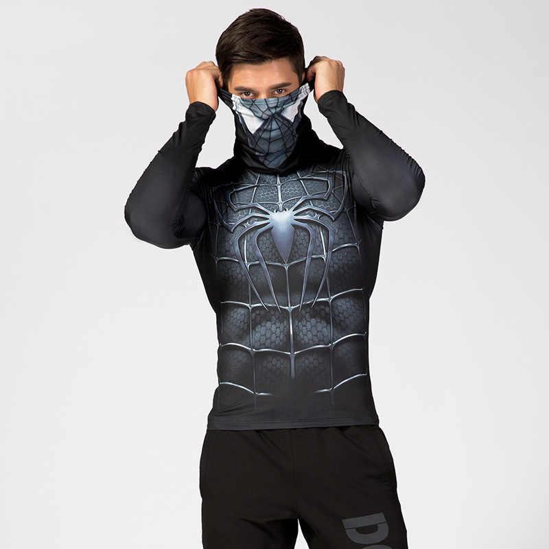 Erkek yüksek yaka yaka iç çamaşırı 3D baskılı sıkıştırma gömlek örümcek adam kaptan amerika kostüm Comics süper kahraman erkekler Tops