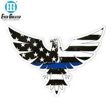 15*10,9 CM delgada línea azul águila pegatina adhesiva vinilo pegatina de parachoques y pegatina PVC