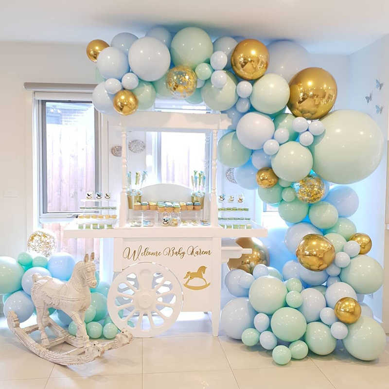 124pcs/set Macaron Blue Pastel Balloons Garland Arch Kit Confetti Birthday Wedding Baby Shower Anniversary Party Decoration