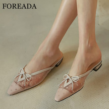 цена FOREADA Mules Shoes Woman Real Leather Low Heels Bow Thick Heel Ladies Footwear Cutouts Pointed Toe Pumps Female Black Size 40 онлайн в 2017 году