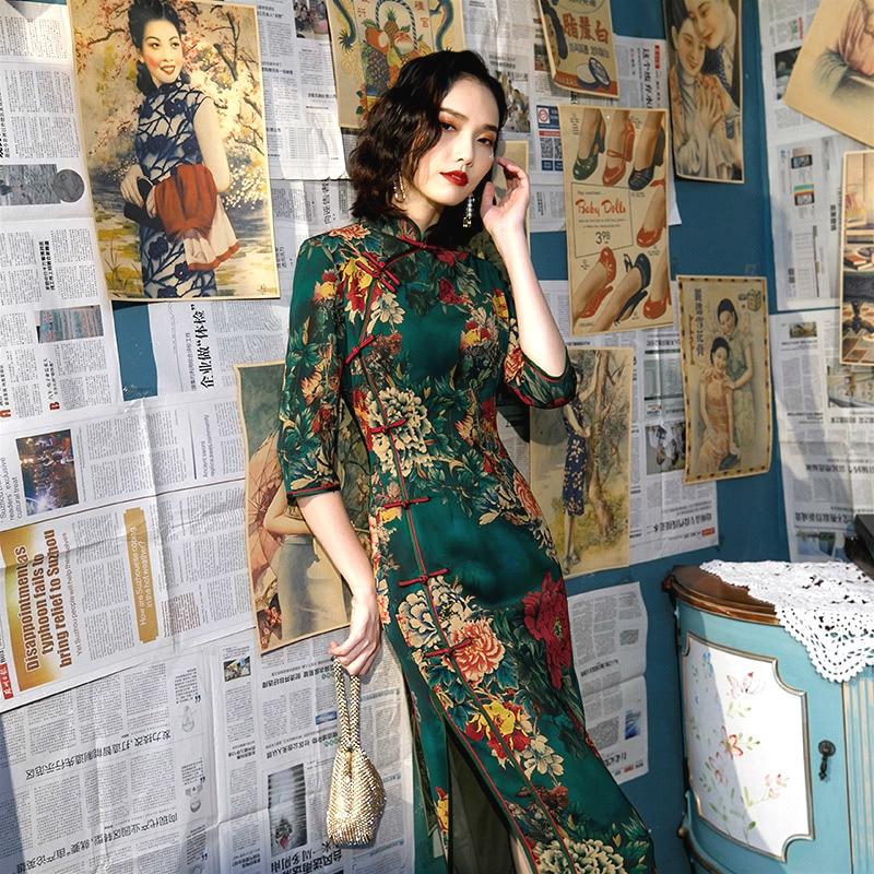 Sheng Coco Plus Size Retro Green Chinese Style Qi Pao Long Sleeve Cheongsam Women Traditional Chinese Oriental Dress 4XL 5XL