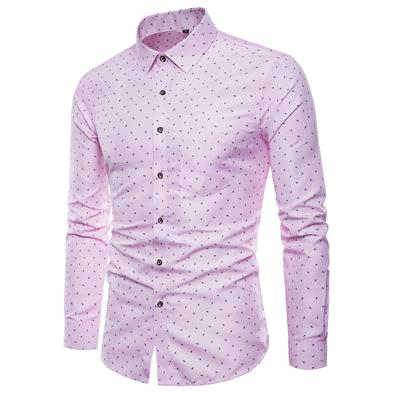 Men Print Shirts Long Sleeves Slim Fit Male Casual Tops For Spring M-5XL FEA889