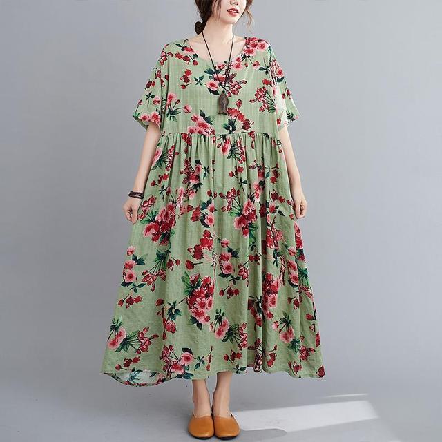 Plus Size Floral Summer Beach Dress Korean Cotton Ladies Dresses for Women 4XL 5XL 6XL Vintage Print Oversized Long Dress 2020 3