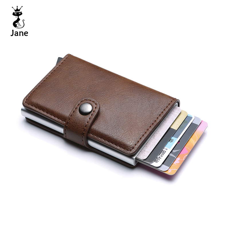 Leather Men Aluminum Wallet Back Pocket ID Card Holder Automatic Pop-up RFID Blocking Magic Wallet Automatic Credit Card Purse