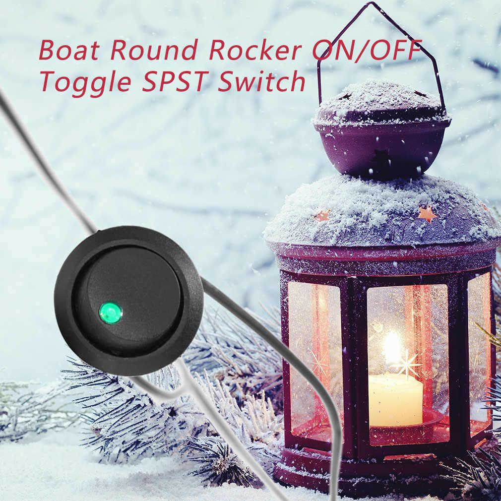 Mini Led point lumière 12V voiture Auto bateau bascule ronde marche/arrêt bascule SPST commutateur camion avec une fente de trou de serrure couleur de la lumière verte