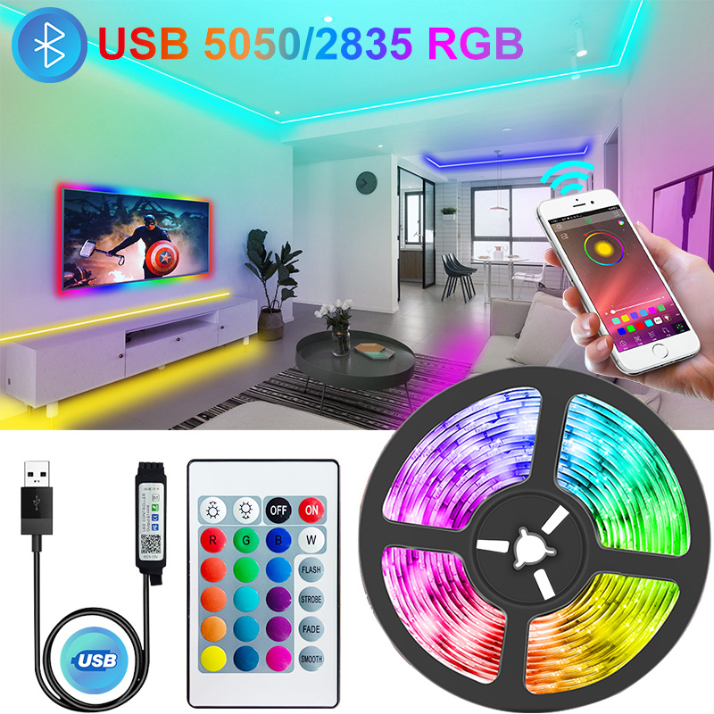 Светодиодные ленты с Bluetooth и USB, RGB 5050/2835, светодиодная лампа для освещения, управление через приложение на телефоне, подсветка для телевизора...