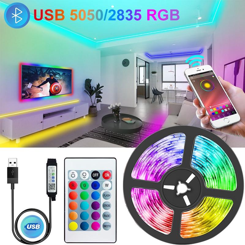 Bluetooth usb led tiras luzes rgb 5050/2835 conduziu a lâmpada de iluminação luz telefone app controle para tiktok luzes tv backlight festa|Tiras de LED|   -