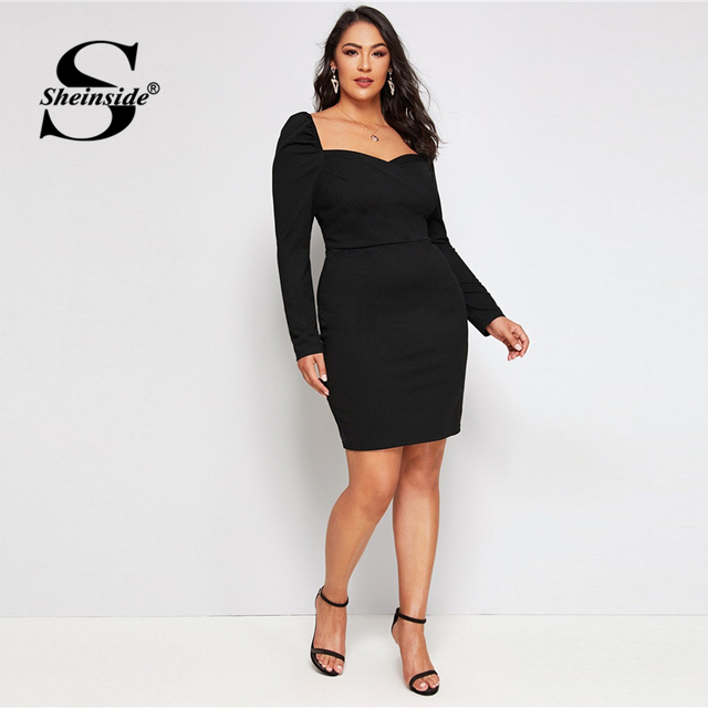 Sheinside Plus Size Black Elegant Sweetheart Neck Pencil Dress Women 2019 Autumn Puff Sleeve Bodycon Dresses Ladies Midi Dress 2