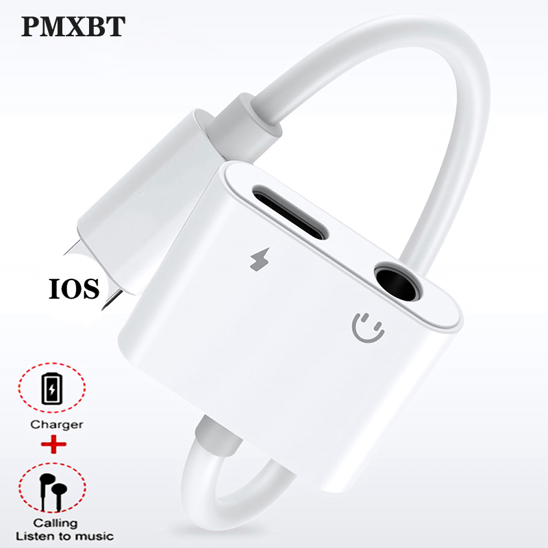 For Apple IPhone XS Max XR X 7 8 Plus Earphone Adapter 2 In 1 For Lightning To 3.5mm Jack Aux Headphone Audio Charger Splitter