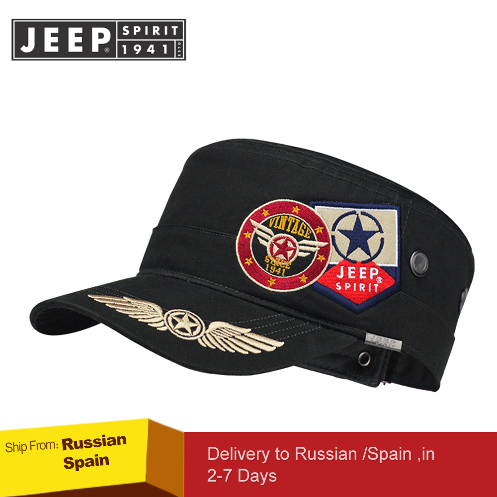 JEEP SPIRIT Brand New 2019 Fashion Flat Roof Military Hats Casual Sun Shade Bush Hat Baseball Field Cap For Men Women Gorras-in Men's Baseball Caps from Apparel Accessories on AliExpress