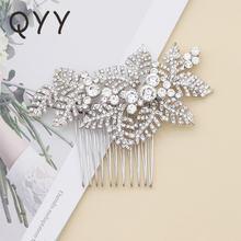 Qyy Мода Листья Свадебные украшения для волос свадебный гребень
