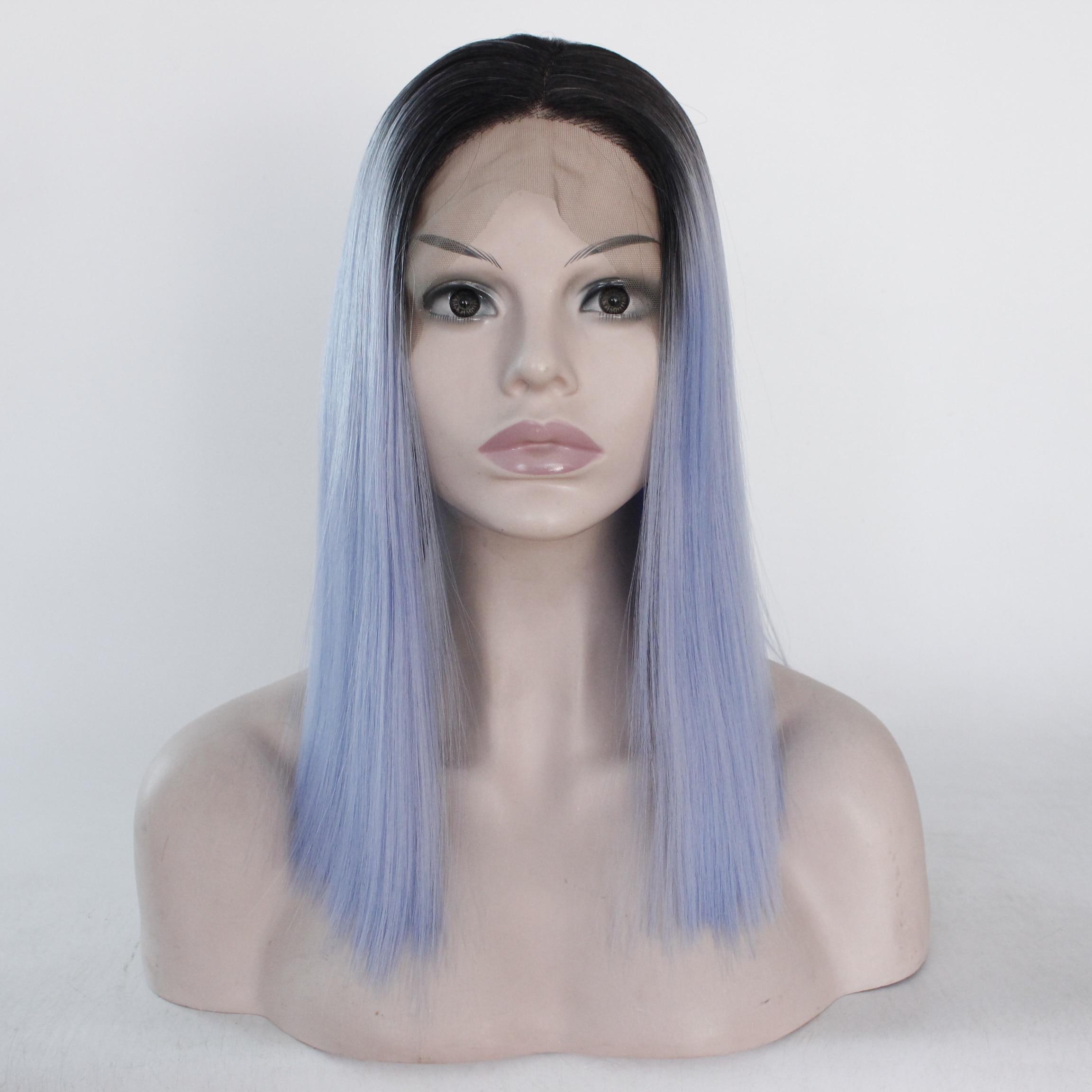Fantaisie beauté Ombre bleu ciel coupe courte Bob droit perruque 13x3 synthétique avant dentelle perruque haute température Fiber cheveux Cosplay