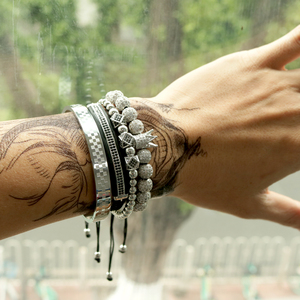 Image 5 - BORASI 4 pièces/ensemble Bracelet en or hommes couronne pavé CZ Zircon perles en acier inoxydable tressé tressage Bracelet bijoux de luxe livraison directe