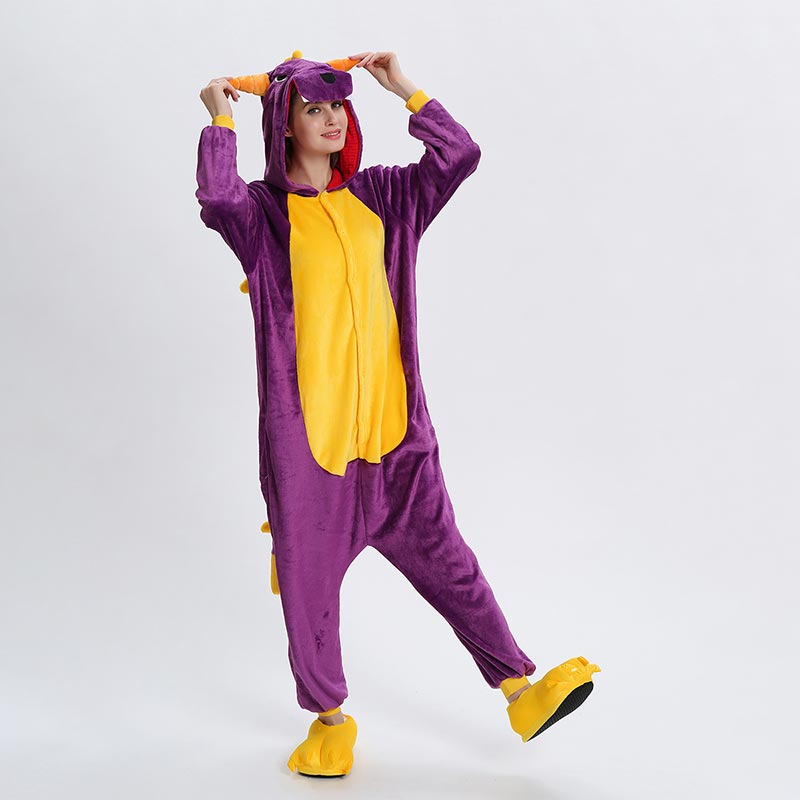 Spyro Dragon Onesie Anime Cartoon Kigurumis Purple Animal Pajama Women Men Adult Funny Suit Winter Warm Cute Sleepwear Jumpsuit
