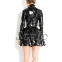 Латексные платья черного цвета с молнией сзади