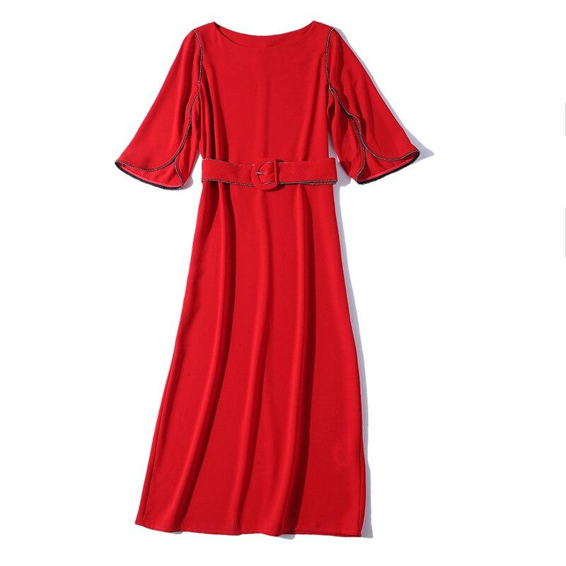 2019 Autumn New European And American Ladies Waist Tie With Slim Dress