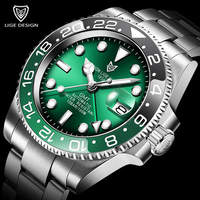 2020 New Sports Mechanical Wristwatch Stainless Steel 100ATM Waterproof Diving GMT Watch LIGE Top Brand Men Watches Reloj Hombre
