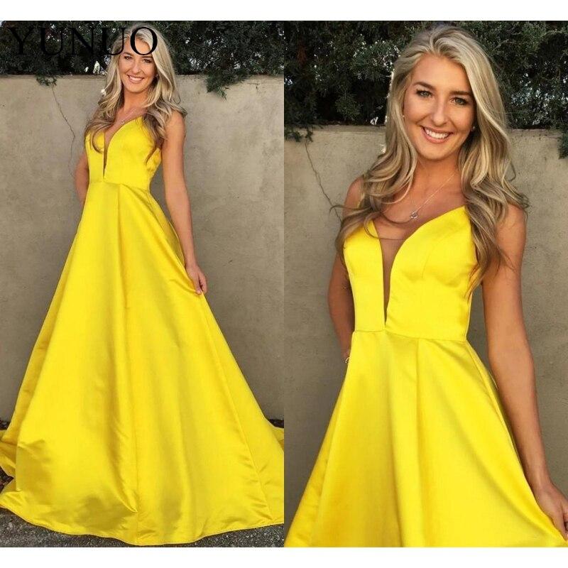 YuNuo modeste jaune robes de soirée 2019 v-cou sans manches a-ligne robes de bal robes de Graduation robes de soiré N74