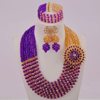 Purple and Champagne Gold AB Crystal Beaded African Beads Jewelry Set for Women