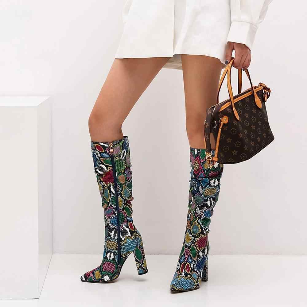 WETKISS Bunte Schlange Haut Stiefel Frauen Hohe Ferse Dicke Boot schlangen Spitz Zip Schuhe Weibliche Slouch Stiefel Falten Winter