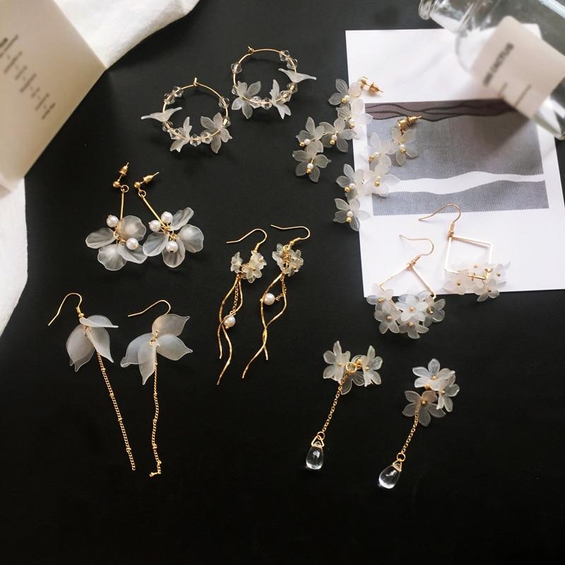 2019 New flower handmade bohemia boho earrings women fashion long hanging earrings crystal female wedding earings party jewelry