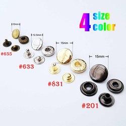 25sets 10mm 12.5mm 15mm Metal No Sewing Snap Button Press Popper Stud Rapid Rivet Fastener