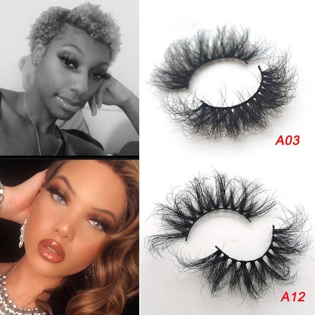 25mm Eyelashes Long 3D mink lashes long lasting mink eyelashes Big dramatic volumn eyelashes strip individual false eyelash 6
