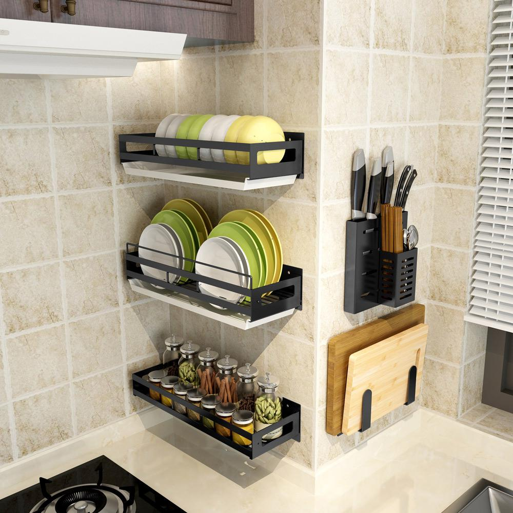 15 pièces/ensemble étagère à vaisselle organisateur de cuisine en acier inoxydable poinçon gratuit étagère murale pour bol à épices support étagères de rangement avec plateau