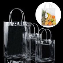 Przezroczyste torby dużego ciężaru torba PVC przezroczysta torba na zakupy typu tote torby do przechowywania torba na prezent box dla kobiet casualowe torby tote torby 2021 new arrival tanie tanio CN (pochodzenie) DO SZAFY Ekologiczne Folding Trójwymiarowe Prostokątne Na rozmaitości Transparent shopping bag