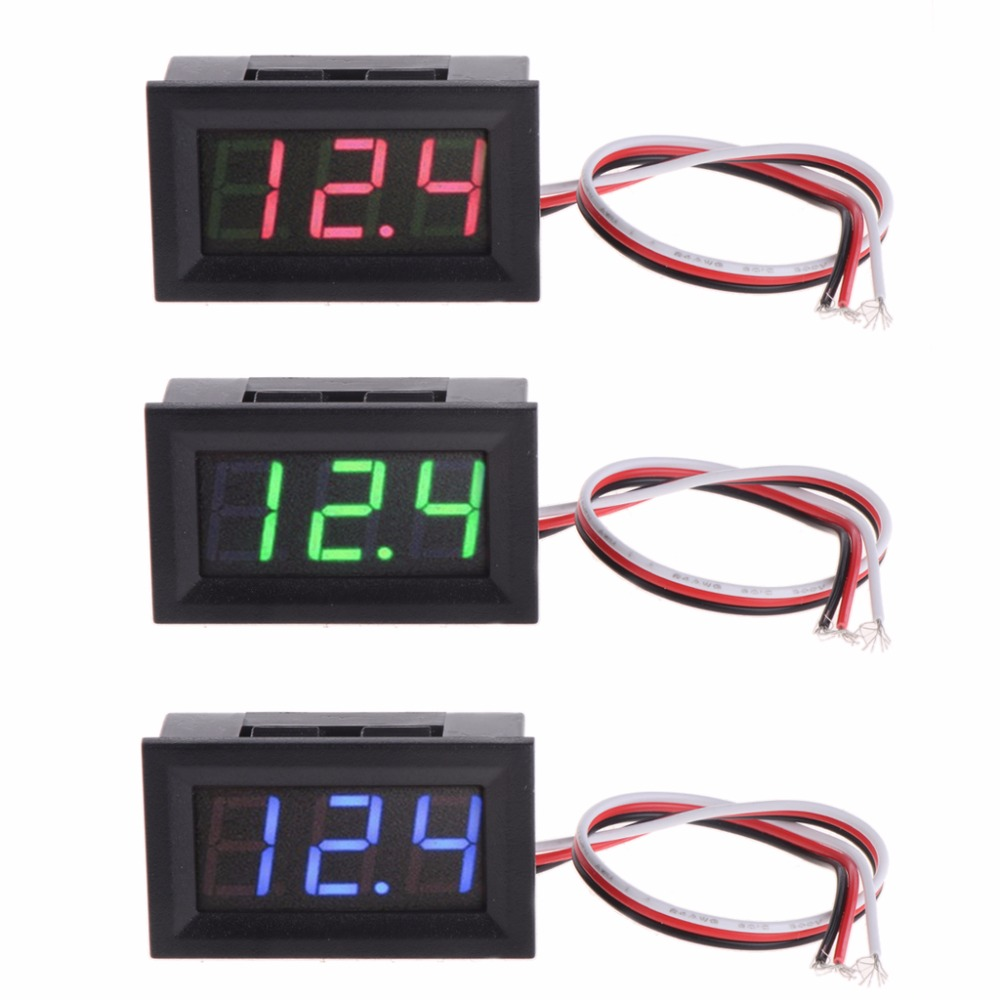 Mini Voltmeter Tester Digital Voltage Test Battery <font><b>DC</b></font> <font><b>0</b></font>-<font><b>30V</b></font> Red/Blue/Green Auto Car image