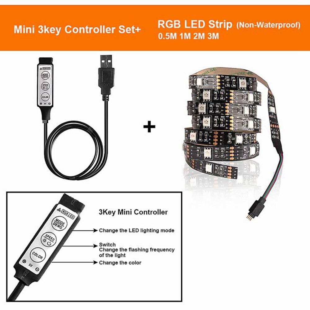H8dc7c198628847eda72c51a77dd5f494Z RGB Tape Bluetooth USB LED Strip TV Background Flexible Neon Ribbon tira Lamp 5V 0.5M SMD 5050 RF Controller LED RGB Strip Light