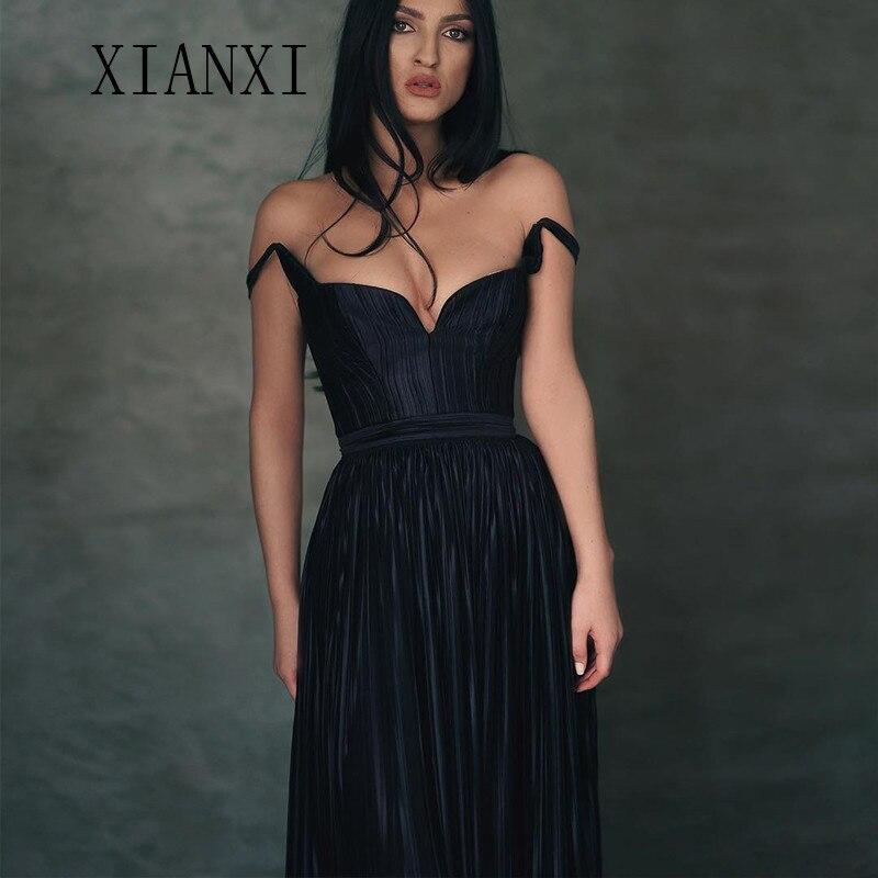 Robe De Soiree Long Evening Dresses 2019 Satin Off The Shoulder Floor Length Prom Dress Party Gowns Vestido De Festa Longo