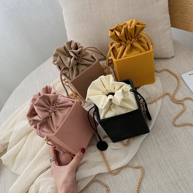 Gykaeo Fashion Drawstring Bucket Women Purses Bags