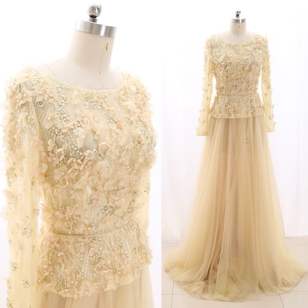 MACloth Light Yellow Sweep Train O Neck Floor-Length Long Beading Tulle   Prom     Dresses     Dress   S 267549 Clearance
