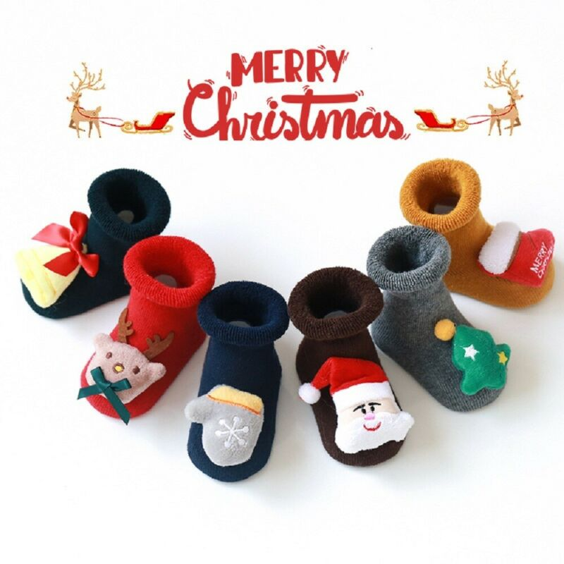 2020 New 0-3Y Cute Baby Christmas Stockings Cotton Terry Santa Floor Socks Silicone Non-slip Baby Sock