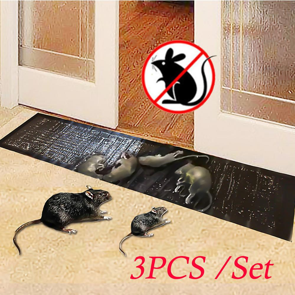 Behogar 3PCS 120x28cm Mouse Board Sticky Pad Strong Glue Mice Rat Insects Pests Trap Repellent Killer Catcher Mat Home Kitchen
