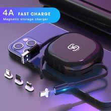 Cuerda magnética de carga rápida, Cable de sincronización de datos 4A, USB para cargador Micro tipo C para iPhone 12, línea de datos USB, base magnética SIKAI